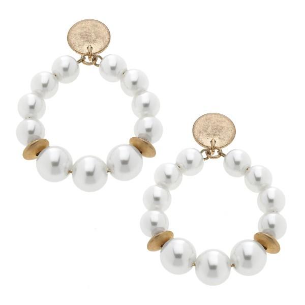 "Ivory Pearl Beaded Teardrop Earrings in Gold.  - Approximately 1.5"" in Diameter - Approximately 2"" in Length"