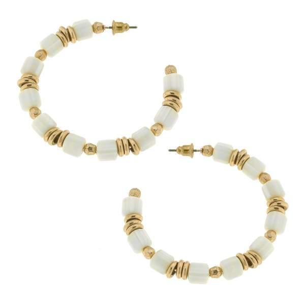 """Rubber Beaded Hoop Earrings with Gold Accents.  - Approximately 2"""" in Diameter"""
