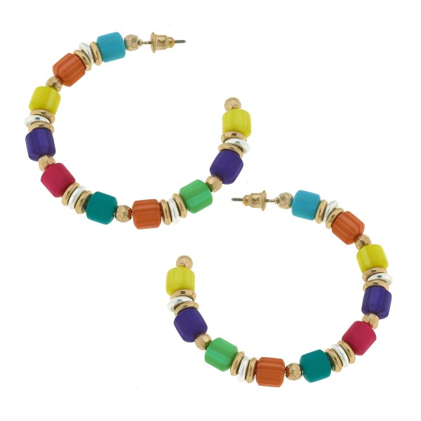 """Rubber Beaded Hoop Earrings with Two Tone Accents.  - Approximately 2"""" in Diameter"""