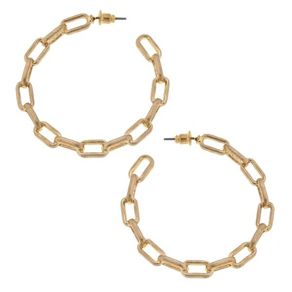 "Chain Link Hoop Earrings in Gold.  - Approximately 2"" in Diameter"