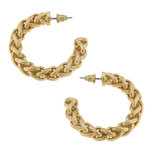 """Rope Hoop Earrings in Gold.  - Approximately 1.5"""" in Diameter - Hoop Thickness: 6mm"""
