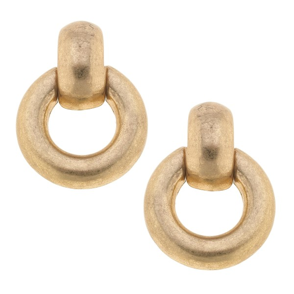 "Hoop Stud Earrings in Worn Gold.  - Approximately 1"" in Diameter"