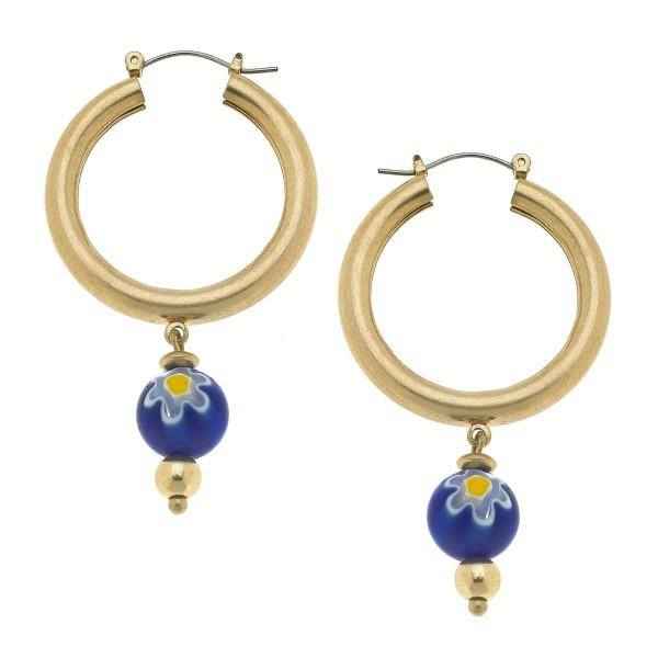 """Flower Bead Drop Hoop Earrings in Gold.  - Bead 11mm - Approximately 1.5"""" in Hoop Diameter - Approximately 2.5"""" in Length"""