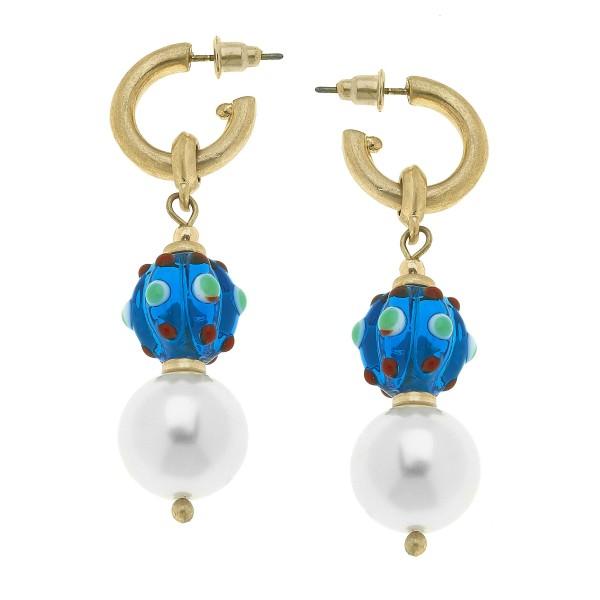 "Ivory Pearl Glass Bead Drop Hoop Earrings.  - Bead 11mm  - Approximately 2.5"" in Length"