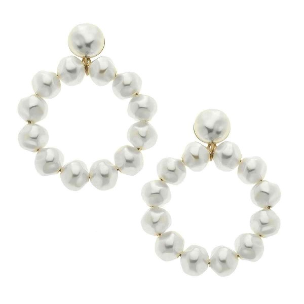 "Ivory Baroque Pearl Beaded Drop Earrings.  - Pearl 9mm - Approximately 1.5"" in Diameter - Approximately 2"" in Length"
