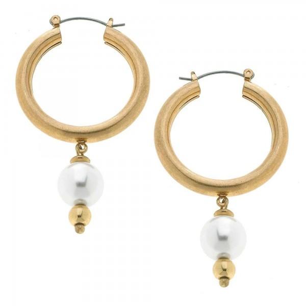 """Ivory Pearl Hoop Earrings in Worn Gold.  - Pearl 11mm - Approximately 1.5"""" in Hoop Diameter - Approximately 2.5"""" in Length"""