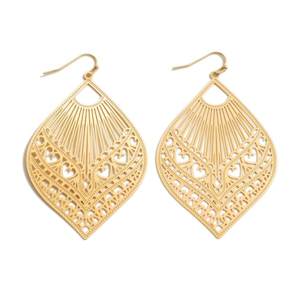"""Filigree Statement Earrings in a Worn Finish.  - Approximately 2.75"""" in Length"""