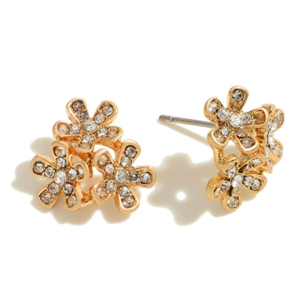 """Pave Flower Cluster Stud Earrings in Gold.  - Approximately .5"""" in Diameter"""