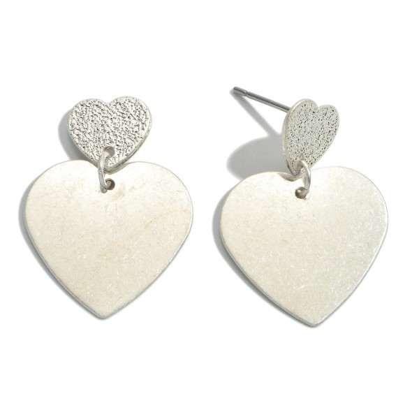 "Metal Plated Heart Drop Earrings in a Worn Finish.  - Approximately 1"" in Length"