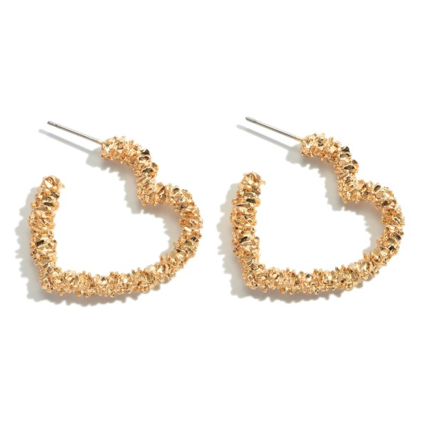 "Crinkled Heart Hoop Earrings in Gold.  - Approximately 1"" in Length"
