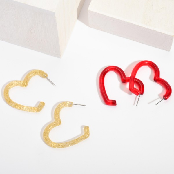 "Resin Heart Hoop Earrings.  - Approximately 1.5"" in Length"