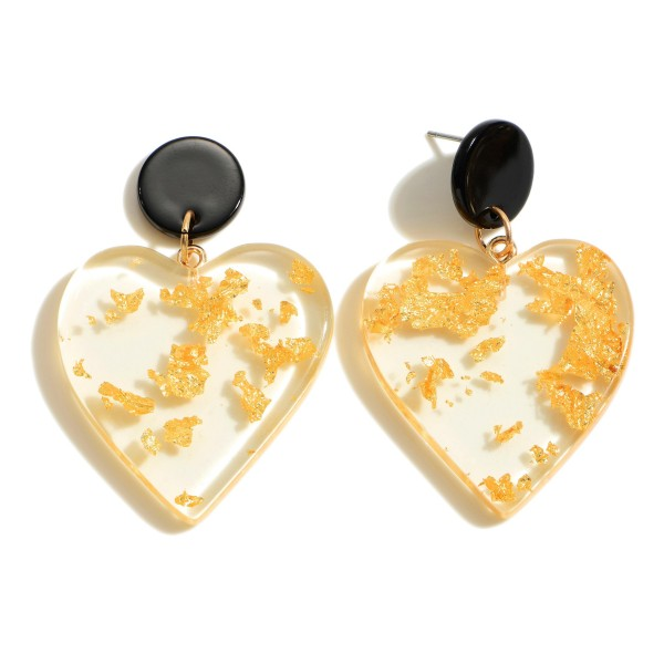 "Clear Acrylic Heart Drop Earring Featuring Gold Accents.  - Approximately 2"" in Length"