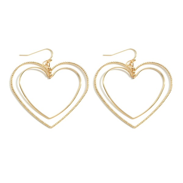 "Metal Heart Layered Drop Earrings in Gold.  - Approximately 2"" in Length"