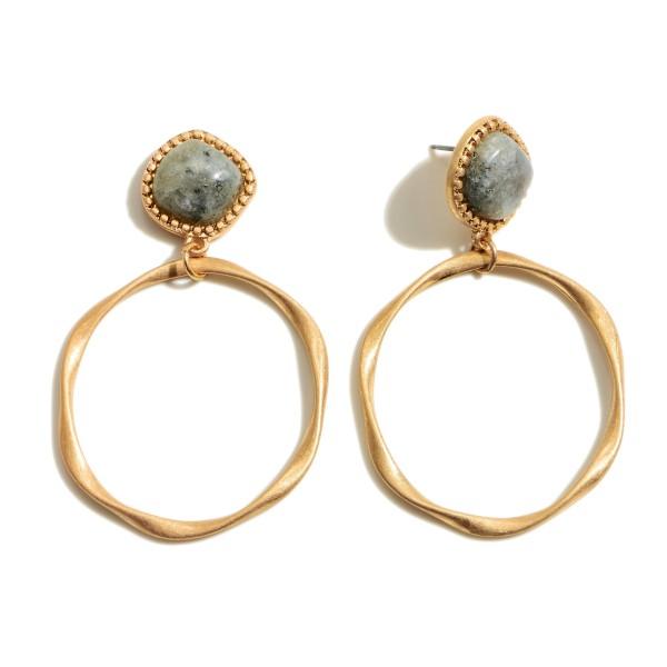 "Semi Precious Ring Drop Earrings in Gold.  - Approximately 2"" in Length - 1.5"" Ring Diameter"
