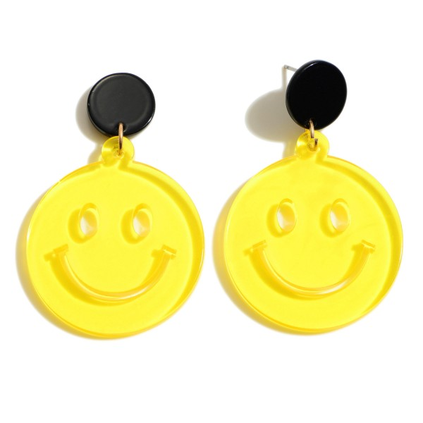 """Resin Smiley Face Drop Earrings.  - Approximately 2"""" in Length"""