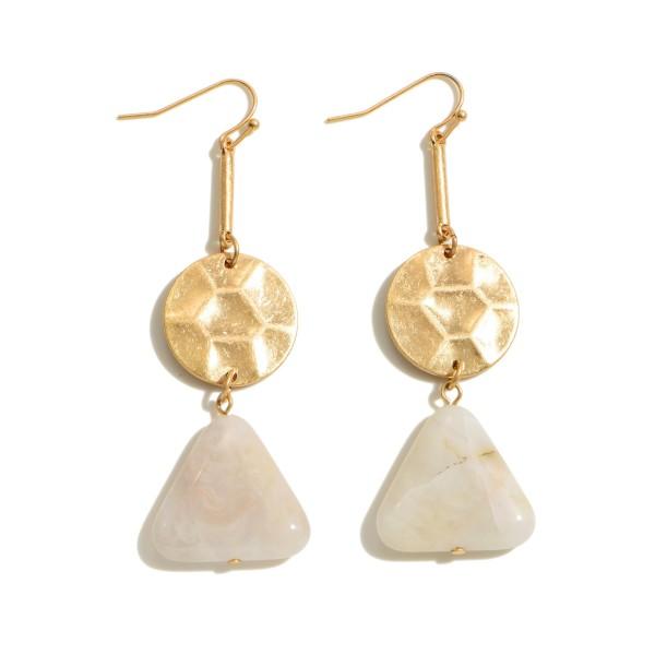"Geometric Semi Precious Drop Earrings in Gold.  - Approximately 2.75"" in Length"