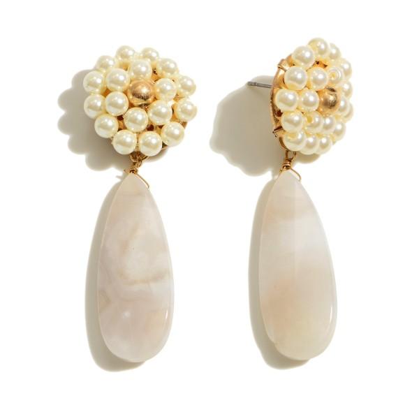 """Ivory Flower Semi Precious Teardrop Earrings.  - Approximately 2"""" in Length"""