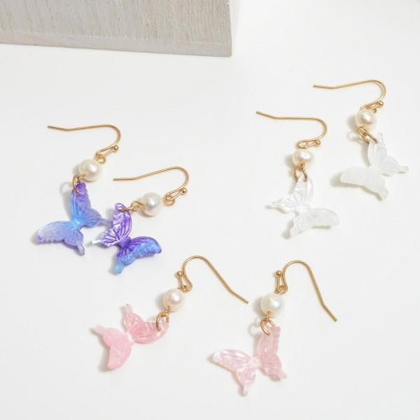 "Ivory Pearl Acrylic Butterfly Drop Earrings.  - Approximately 1.25"" in Length"