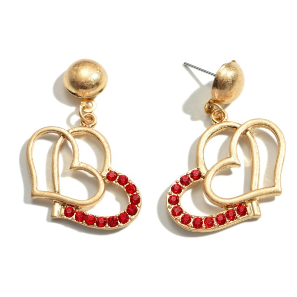 "Red Rhinestone Double Heart Drop Earring in Gold.  - Approximately 1.5"" in Length"