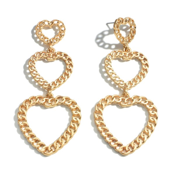 "Chain Link Heart Tier Drop Earrings in Gold.  - Approximately 3"" in Length"