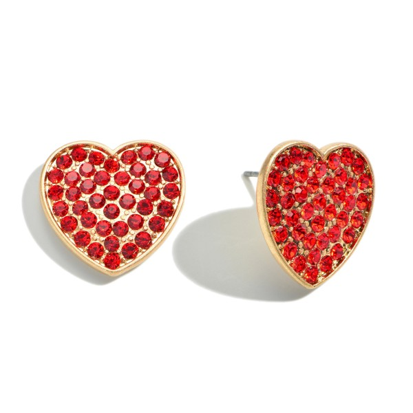 "Red Rhinestone Heart Stud Earrings in Gold.  - Approximately .75"" in Size"