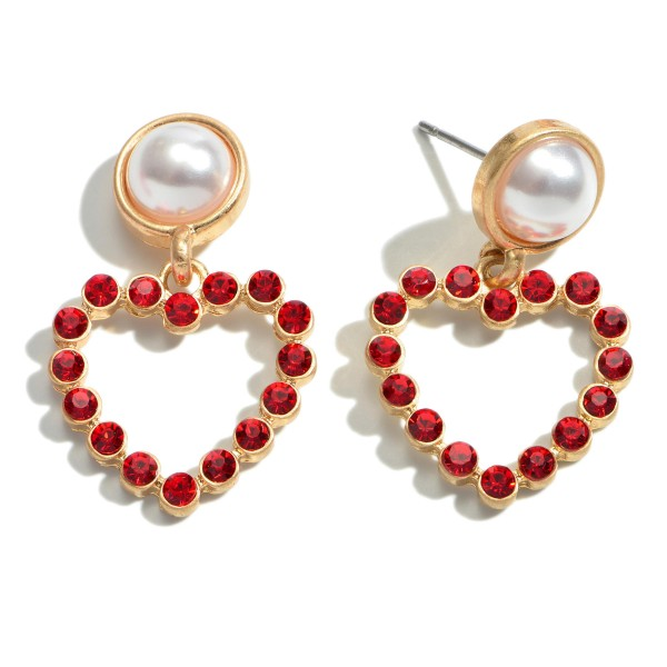 "Red Rhinestone Heart Drop Earrings Featuring a Pearl Accent.  - Approximately 1"" in Length"