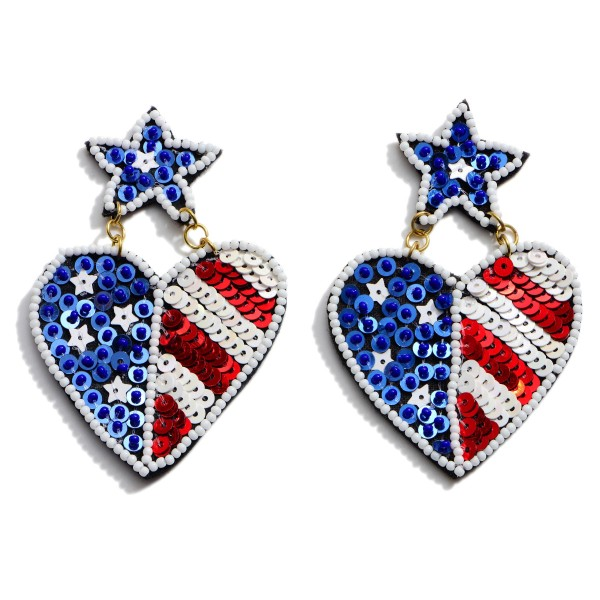 "Seed Beaded Sequin USA Heart Statement Earrings.  - Approximately 3"" in Length"