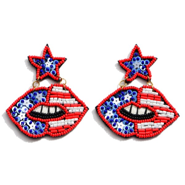 Seed Beaded Sequin USA Mouth Statement Earrings.  - Approximately 2.5' in Length