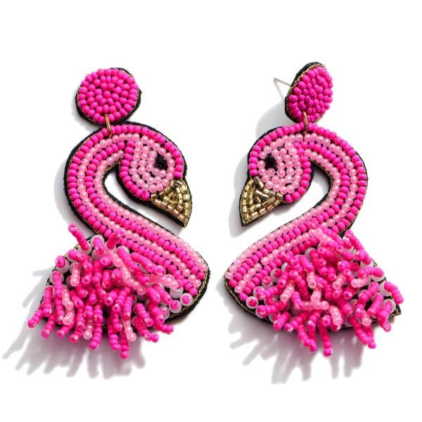 "Seed Beaded Flamingo Felt Tassel Statement Earrings.  - Approximately 2.75"" in Length"