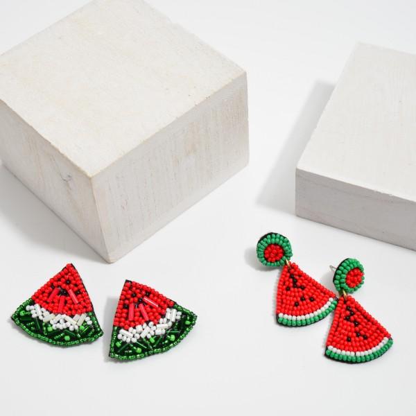 "Oversized Seed Beaded Watermelon Stud Earrings.  - Approximately 1.25"" in Size"