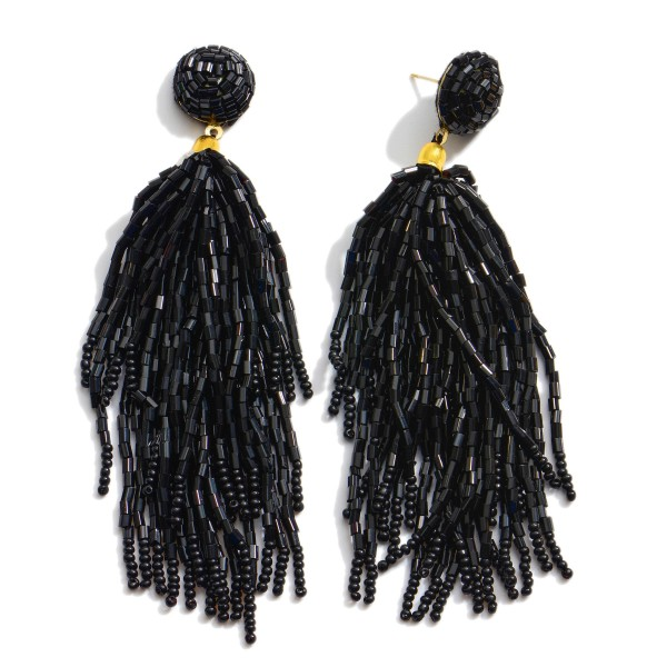 "Seed Beaded Tassel Statement Earrings.  - Approximately 4.5"" in Length"