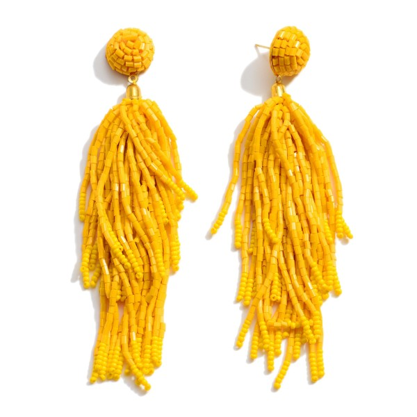 "Seed Beaded Tassel Statement Earrings.  - Approximately 4.5"" in Length"