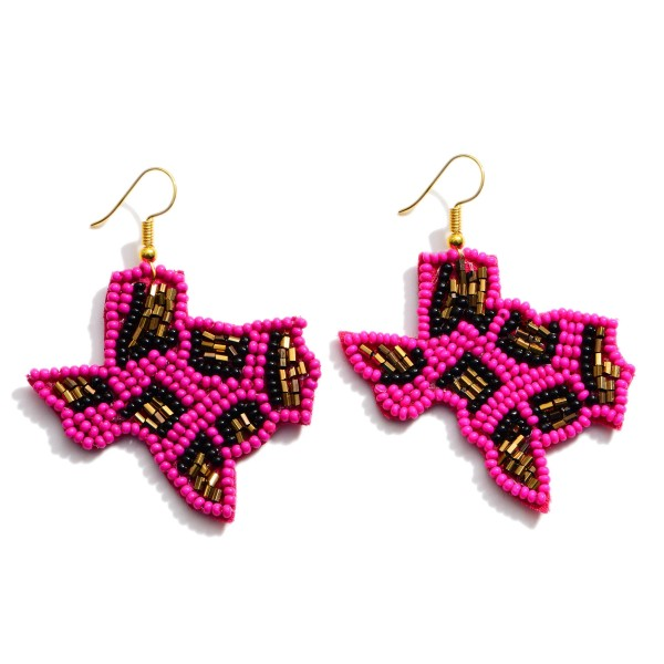 """Seed Beaded Leopard Print Texas State Drop Earrings.  - Approximately 2"""" in Length"""