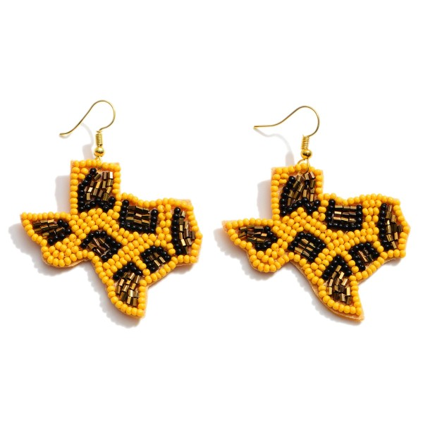"Seed Beaded Leopard Print Texas State Drop Earrings.  - Approximately 2"" in Length"