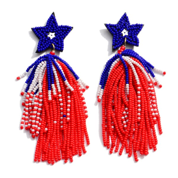 "Seed Beaded USA Star Tassel Statement Earrings.  - Approximately 4"" in Length"