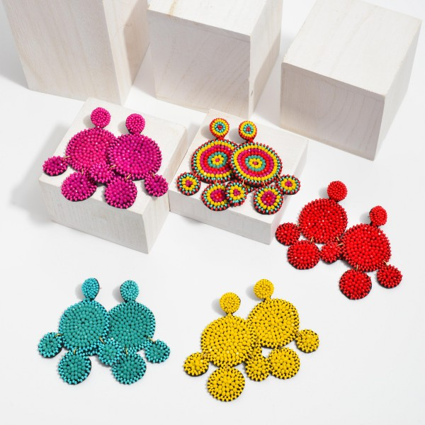 """Seed Beaded Circle Tassel Statement Earrings.  - Approximately 3"""" in Length"""