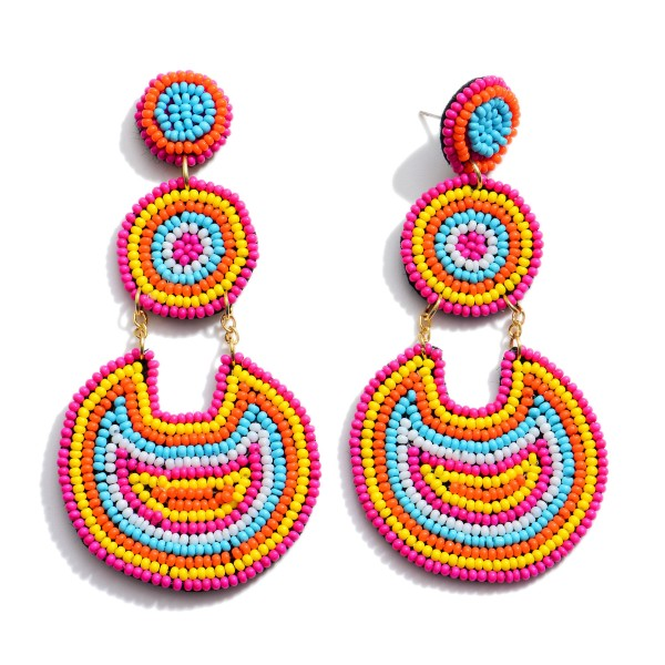 """Multicolor Seed Beaded Circle Link Statement Drop Earrings.  - Approximately 3.5"""" in Length"""