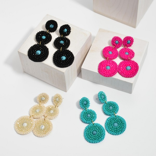 """Seed Beaded Natural Stone Tier Statement Earrings.  - Approximately 3"""" in Length"""
