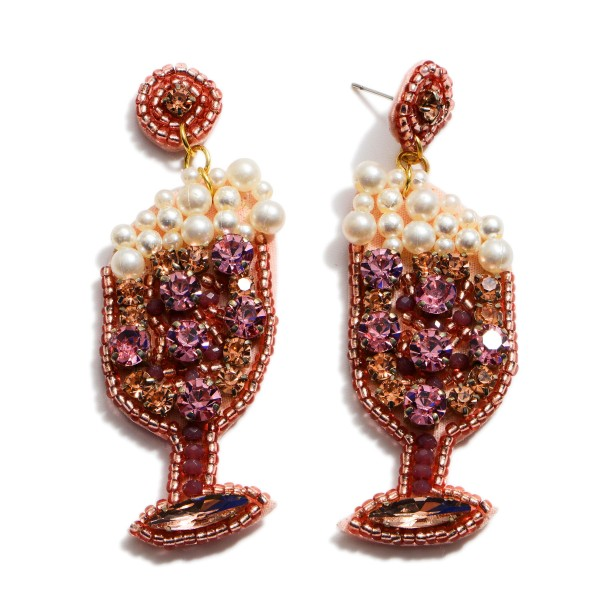 "Rhinestone Pearl Beaded Champagne Felt Statement Earrings.  - Approximately 2.75"" in Length"
