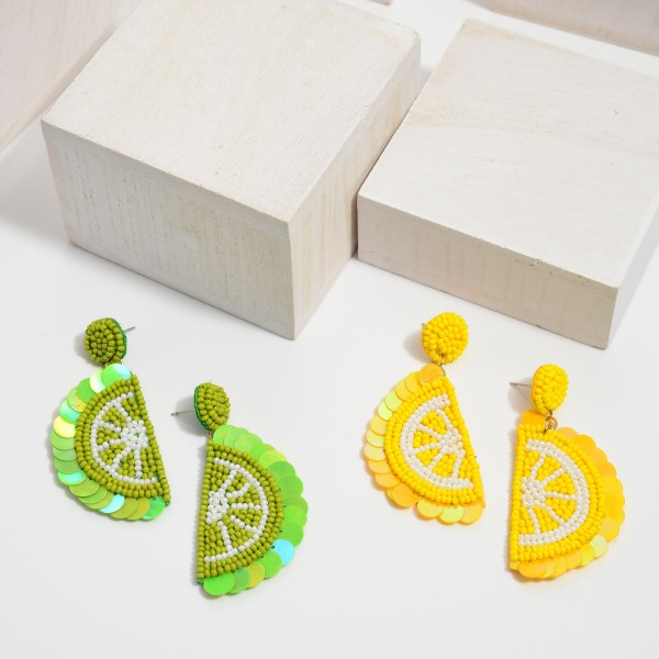 """Seed Beaded Sequin Fruit Felt Statement Drop Earrings.  - Approximately 2"""" in Length"""