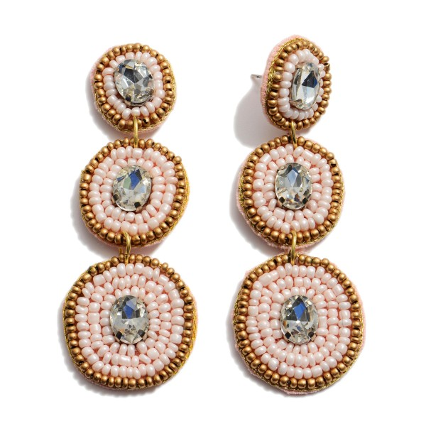 "Seed Beaded Rhinestone Tier Statement Earrings.  - Approximately 3"" in Length"