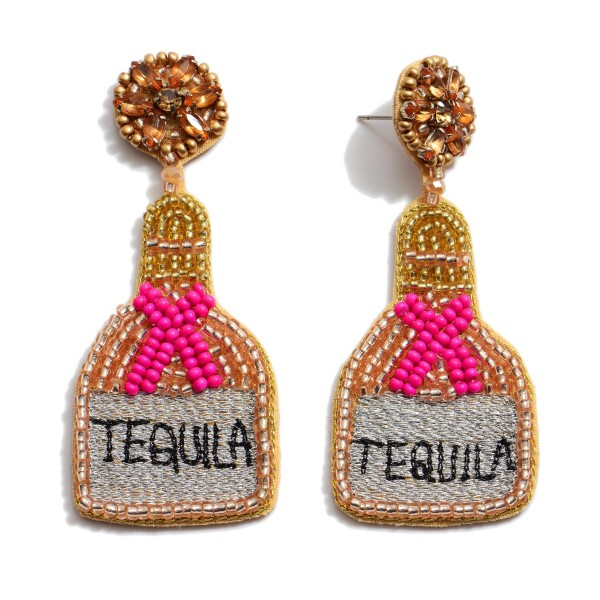 "Seed Beaded Tequila Bottle Statement Earrings.  - Approximately 2.75"" in Length"