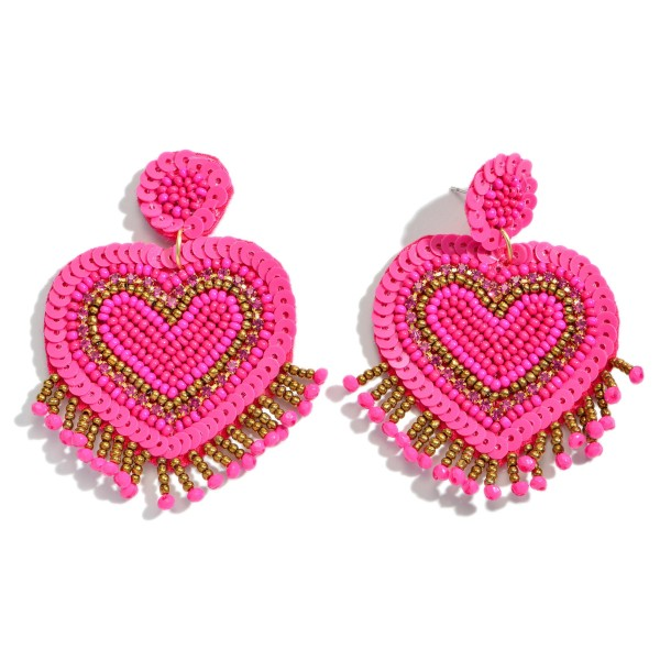 "Seed Beaded Heart Tassel Statement Earrings.  - Approximately 2.5"" in Length"