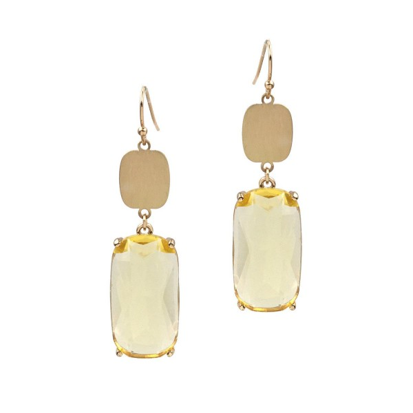"Gold Drop Earrings Featuring Crystal Accents.   - Approximately 2"" Long"