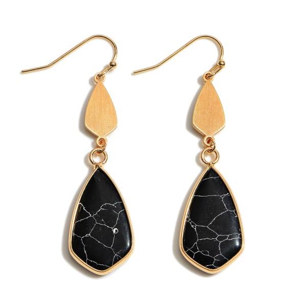 "Semi Precious Moroccan Teardrop Earrings in Gold.  - Approximately 2"" in Length"