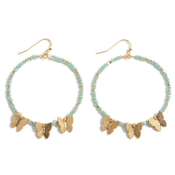 "Beaded Butterfly Drop Earrings in Gold.  - Approximately 2"" in Length"