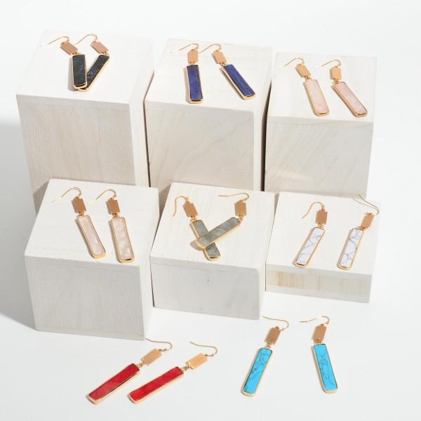 "Semi Precious Bar Drop Earrings in Gold.  - Approximately 2.5"" in Length"
