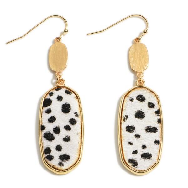 "Dalmatian Print Drop Earring in Gold.  - Cowhide & Metal Material - Approximately 2"" in Length"
