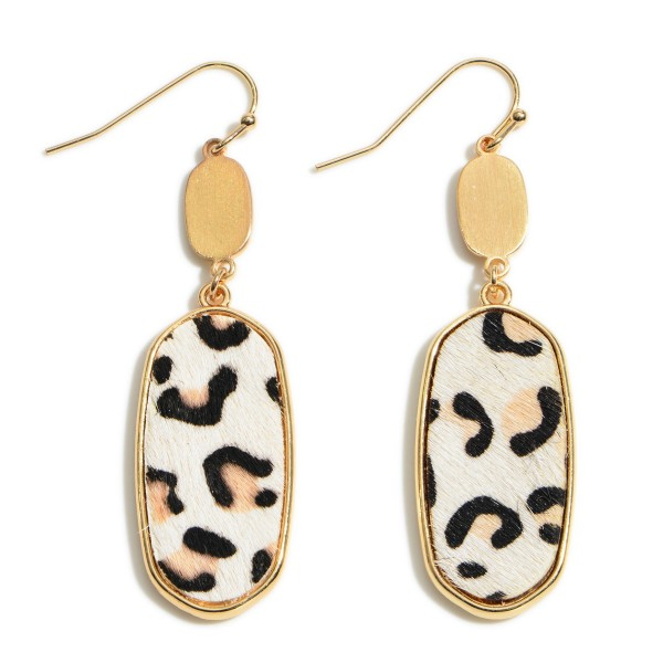 "Leopard Print Drop Earring in Gold.  - Cowhide & Metal Material - Approximately 2"" in Length"