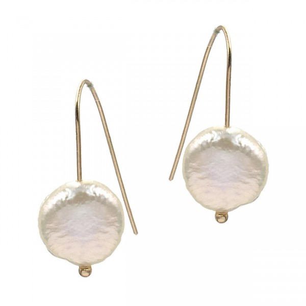 """Gold Wire Earrings Featuring Faux Pearl Accents.   - Approximately 1.5"""" Long"""